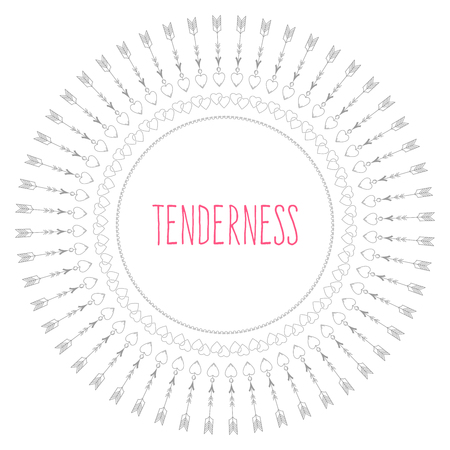 tenderness: A circular pattern of elements that symbolize Valentines day, with the inscription Tenderness