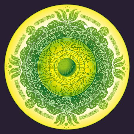 The circular ornaments in the style of the Eastern mandala with Lotus flowers Illustration