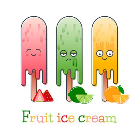 thawing: Mixed ice cream with fruits, of which it is made: strawberry, lime, orange and with different facial expressions