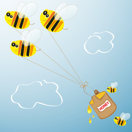 Bees and barrel of honey Stock Vector - 8957569