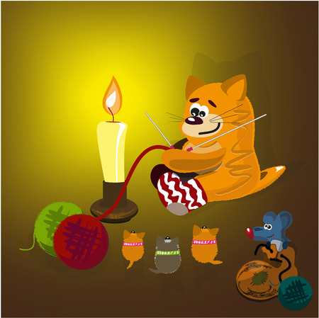 Red cat, kitten and mouse in a boot Vector