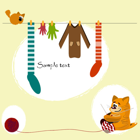 laundry line: Gato rojo tejer su�teres, guantes y calcetines Vectores