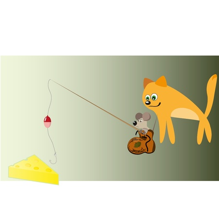 cat, mouse and cheese Vector