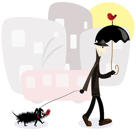 man with dog Stock Vector - 9294497
