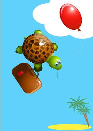 turtle with a balloon Vector