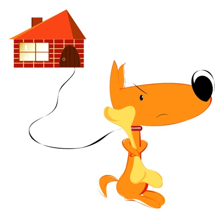 the dog is guarding the house Vector