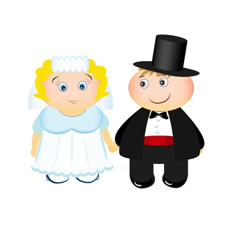 Bride and groom isolated on white background Vector