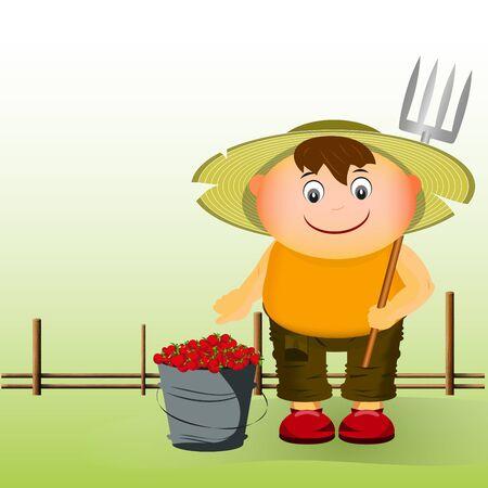 agricultores con un cubo de fresas cerca de la valla Ilustración de vector