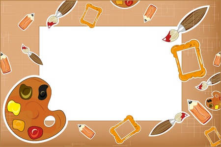 photo frame - a pencil, brush, palette Vector
