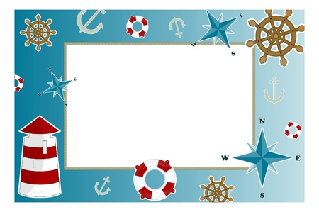 frame for photo with marine issues Vector