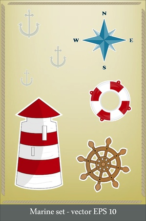 Marine set - lighthouse, life preserver, anchor, wind rose Vector