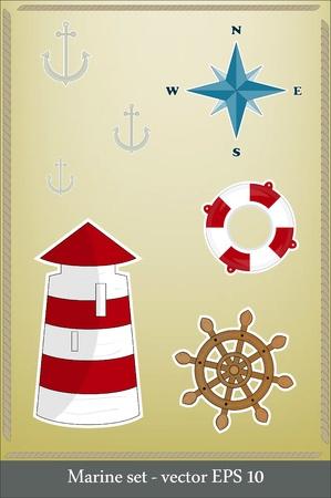 Marine set - lighthouse, life preserver, anchor, wind rose Vector