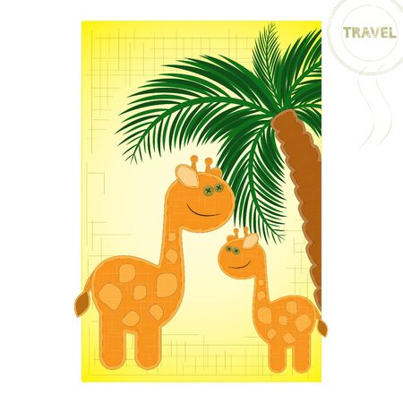 application - two giraffes and palm tree on a yellow background