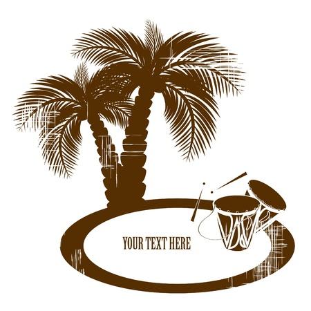 tambor: tambores en la playa y palmeras de coco