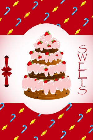 card with a cake on the background of sweets Vector