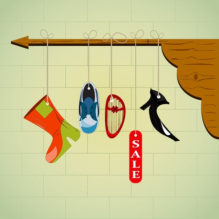 Sale Shoes - boots, sneakers, slippers and other shoes Vector