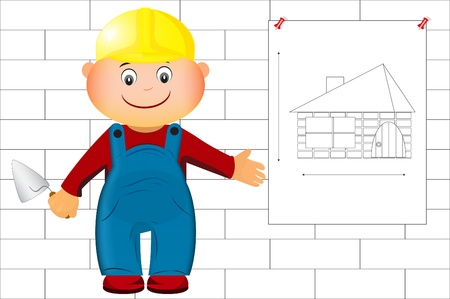 a builder shows a drawing at home Stock Vector - 9931642