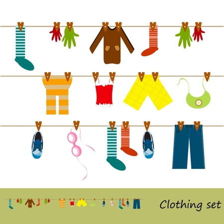 clothes hanging on a rope - jeans, shirt, vest and other Vector