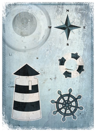 Marine set - lighthouse, life preserver, anchor, wind rose photo