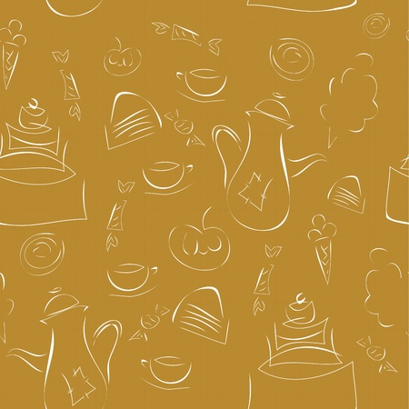 seamless texture - coffee, cake and sweets on a brown background Vector