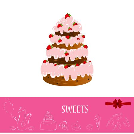 strawberry-chocolate cake, isolated on a white background Vector