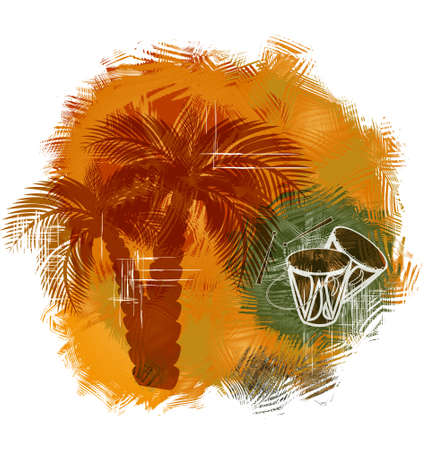 oceanside: palm trees and drums on the grunge background Stock Photo