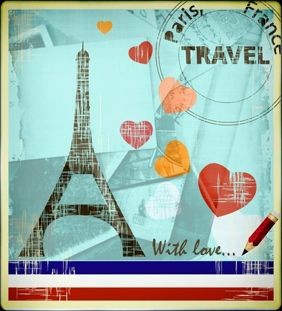 Parisian postcard with Eiffel Tower and the hearts Stock Photo - 9972437