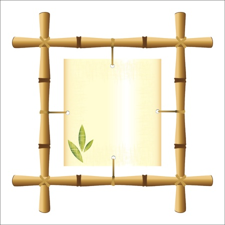 bamboo leaves: bamboo frame with a blank sheet of papyrus
