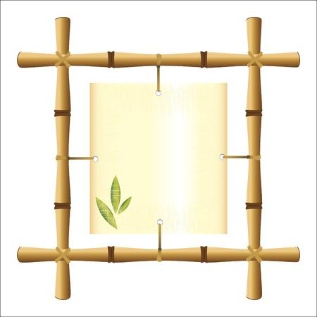 hoja en blanco: marco de bamb� con una hoja de papiro en blanco