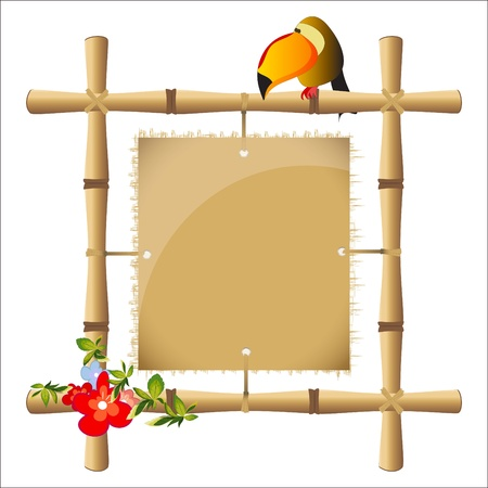 bamboo frame with a blank sheet of papyrus Vector