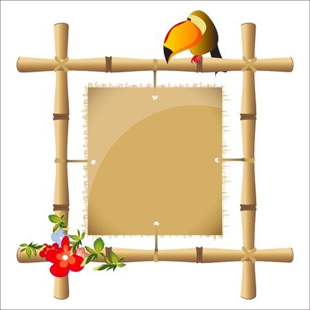 cadre de bambou avec une feuille vierge de papyrus