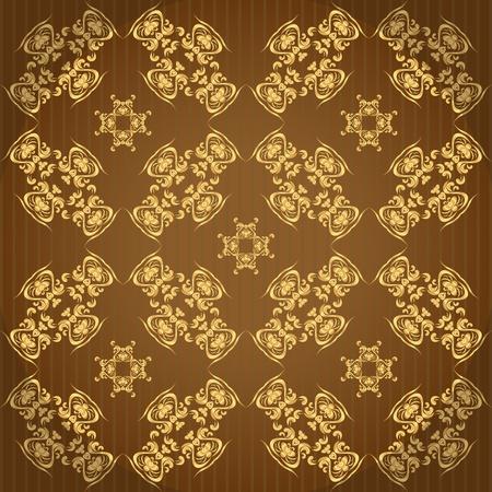 golden wallpaper with a pattern - seamless texture Vector
