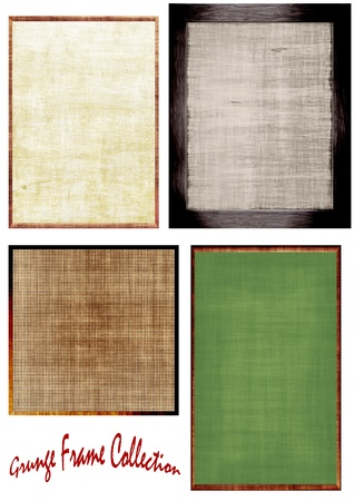 uneven edge: Grunge Frame Collection isolated on white background