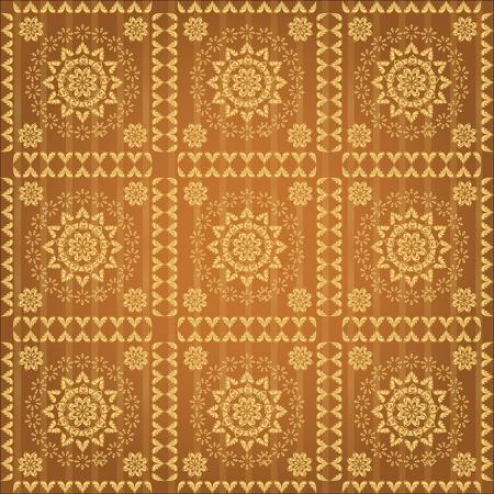 golden wallpaper with a pattern - seamless texture Stock Vector - 10119038