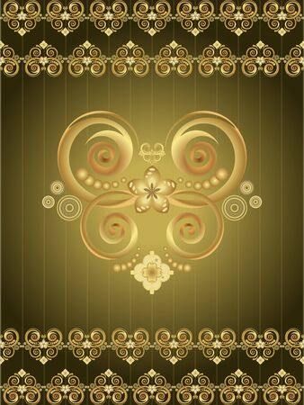gold floral pattern on a green background Vector