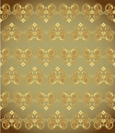 golden wallpaper with a pattern - seamless texture Stock Vector - 10119041