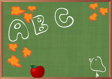 green background - green blackboard with drawings and red apple Vector
