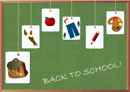 subjects: school supplies on the background of school board Illustration