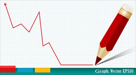 profitable: business graph and red pencil on the background of notebook Illustration