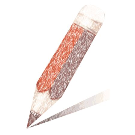 writing instrument: colored pencil isolated on white - pencil sketch
