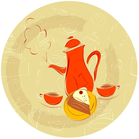 hot coffees: coffee background - coffee pot, cup and cake