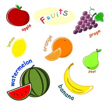 orange cut: establecer frutas - manzana, uva, lim�n, naranja, pera, mel�n, banana