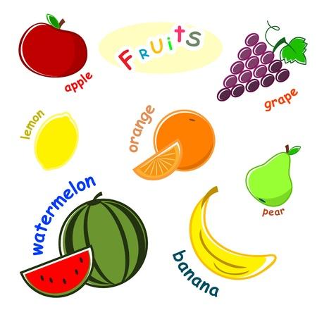 establecer frutas - manzana, uva, limón, naranja, pera, melón, banana