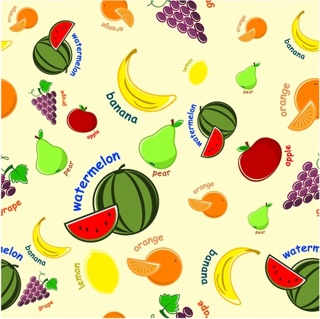 seamless wallpaper - fruit set on a light background Vector