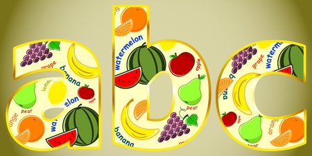health cartoons: letter ABC - a variety of fruits on beige background