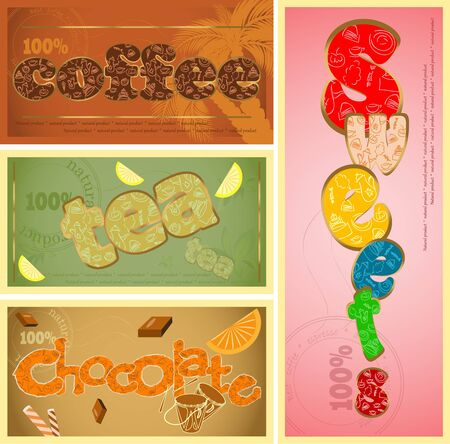 tags set - coffee, tea, chocolate and sweets Vector