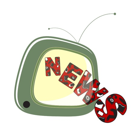 news on TV. isolated on a white background Vector