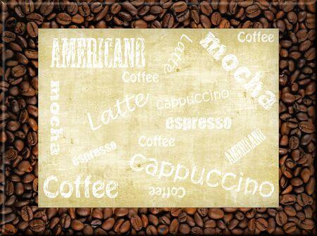 coffee frame - americano, mocha, espresso, latte photo