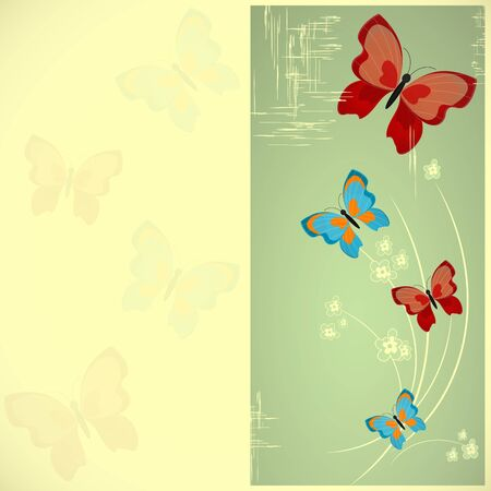 card with butterflies in retro style Vector