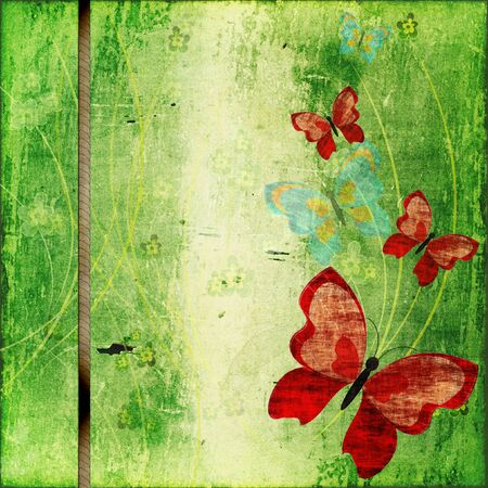 Abstract background with butterflies in scrapbooking style photo